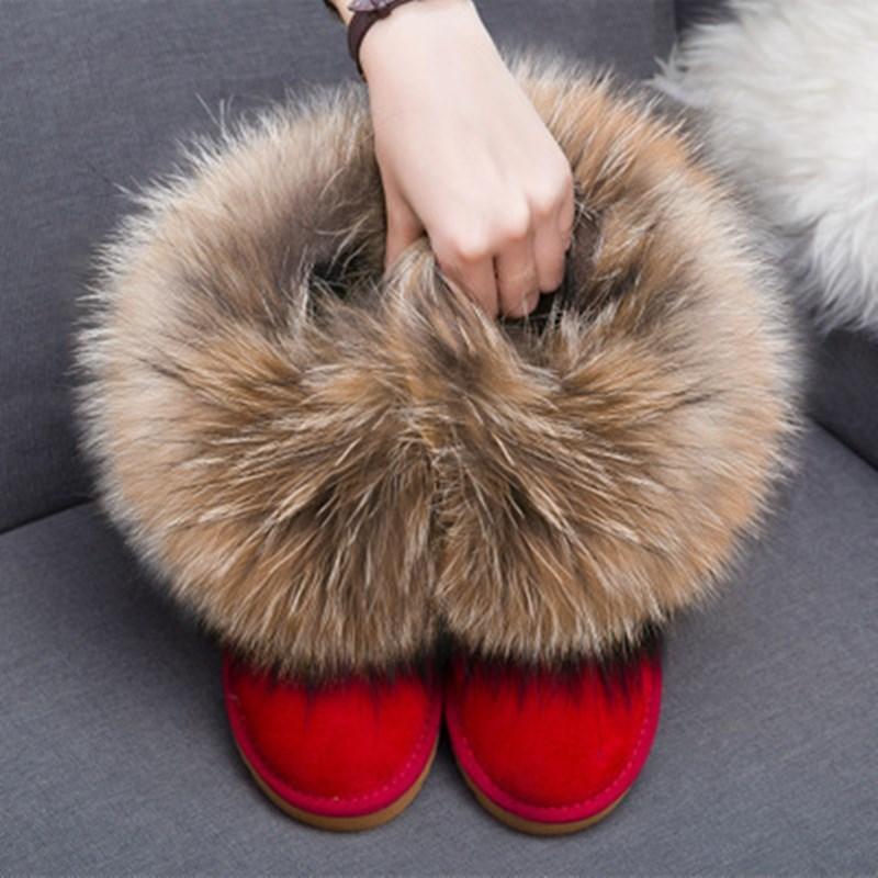 Top qualidade de entrega grátis! pele de raposa verdadeira das mulheres lã Natural couro neve, ankle boots inverno quente, várias cores, além de tamanho