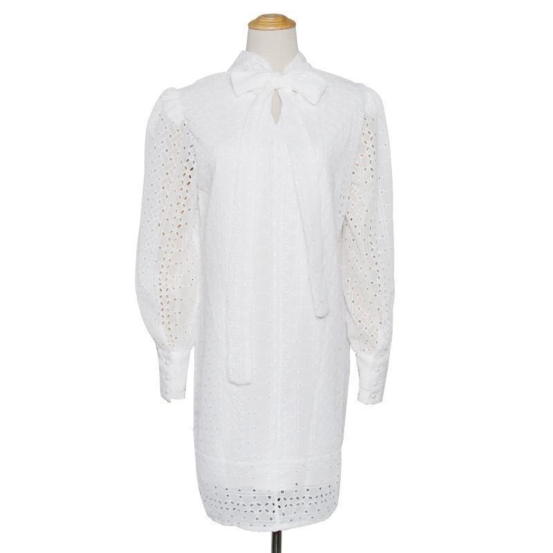 Alta calidad bordado de encaje hueco hacia fuera collar de arco linterna larga funda suelta vestido de primavera femme xw6n
