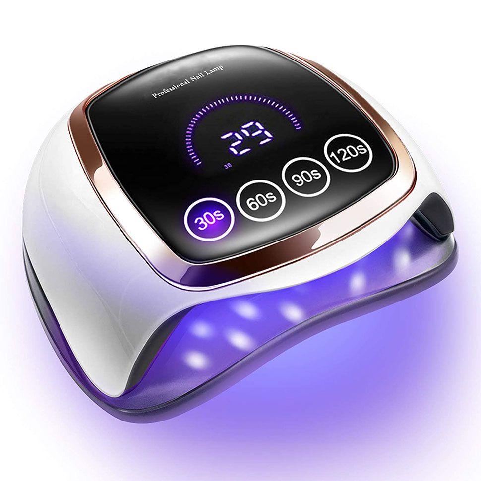 مصباح الأظافر الأشعة فوق البنفسجية LED، 168W LEDs مجفف الأظافر ل Gel Polish مع 4 إعدادات مؤقت، استشعار السيارات وشاشة LCD تعمل باللمس