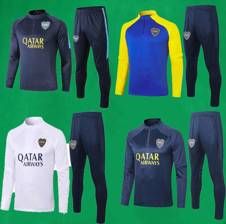 20 21 Boca Juniors Trainingsanzug Männer Fußball Trainingsanzug Full Sleeve Football Training Anzug 19 20 Boca Sweatshirt und Hosen De Rossi Tevez Sets
