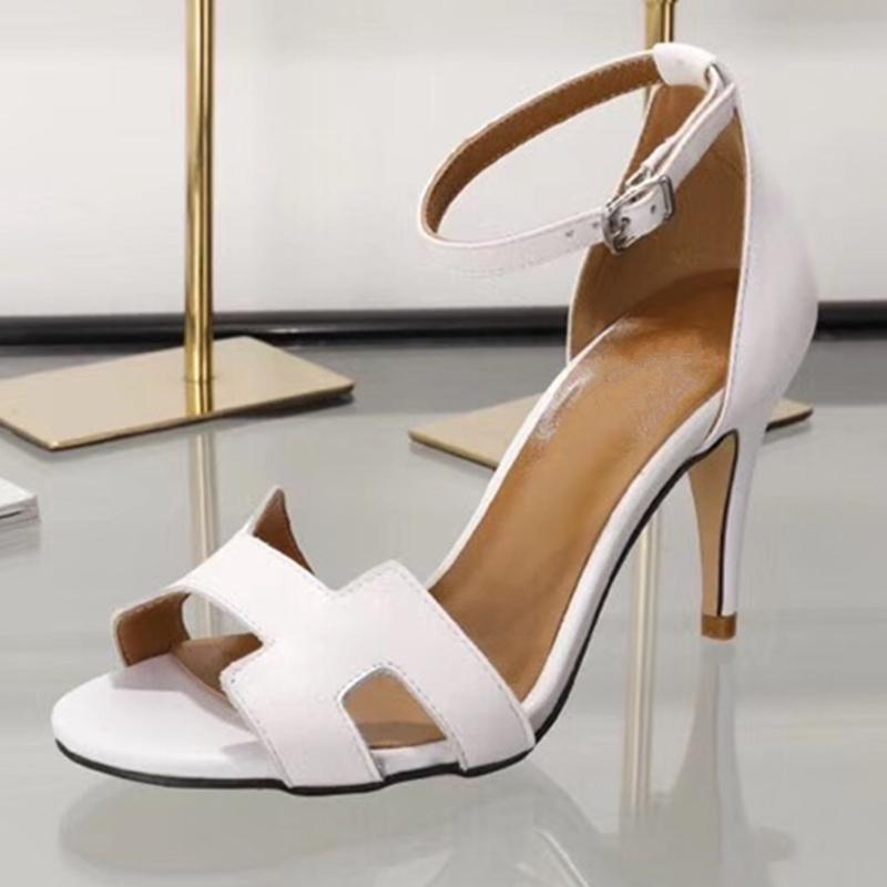 2021 Sandalias para mujer Nueva Moda H Color Mixte Stiletto High Heels Street Black-Style Vestido como fiesta con tacon 848p