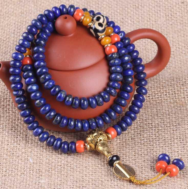 Бисером, пряди тибетский буддийский 108 бусины натуральный 6a lapis lazuli камень синий народная передача удака кристалл молитва браслет женские мужские украшения