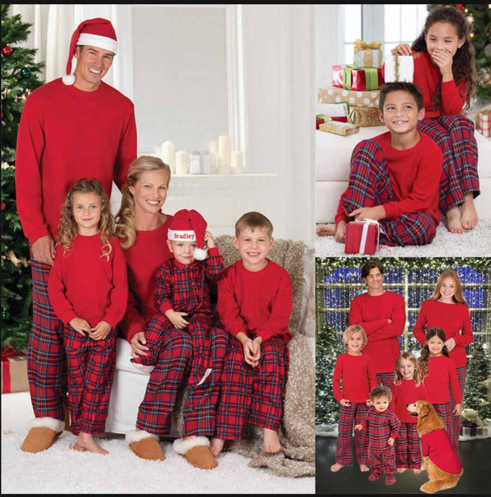 Mais novo Pijama de Natal Família Olhar Grade de Natal Impresso Roupas Conjuntos Home Pijamas Família Correspondência Conjuntos de Roupas de Correspondência