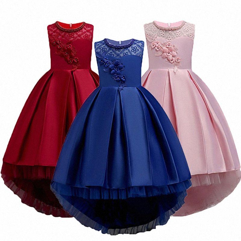 Flor de la boda vestido de traje de navidad para niños partido de las muchachas de la princesa elegante chica arrastra largo del desfile de la dama de honor vestido de novia formal JE4j #