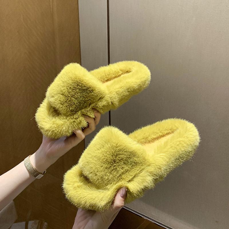 Zapatillas de piel de imitación zapatillas para mujer mullidas por diapositivas Confort Furry Flat Sandals Femenino Lindas zapatillas de interior para mujer Flops2021