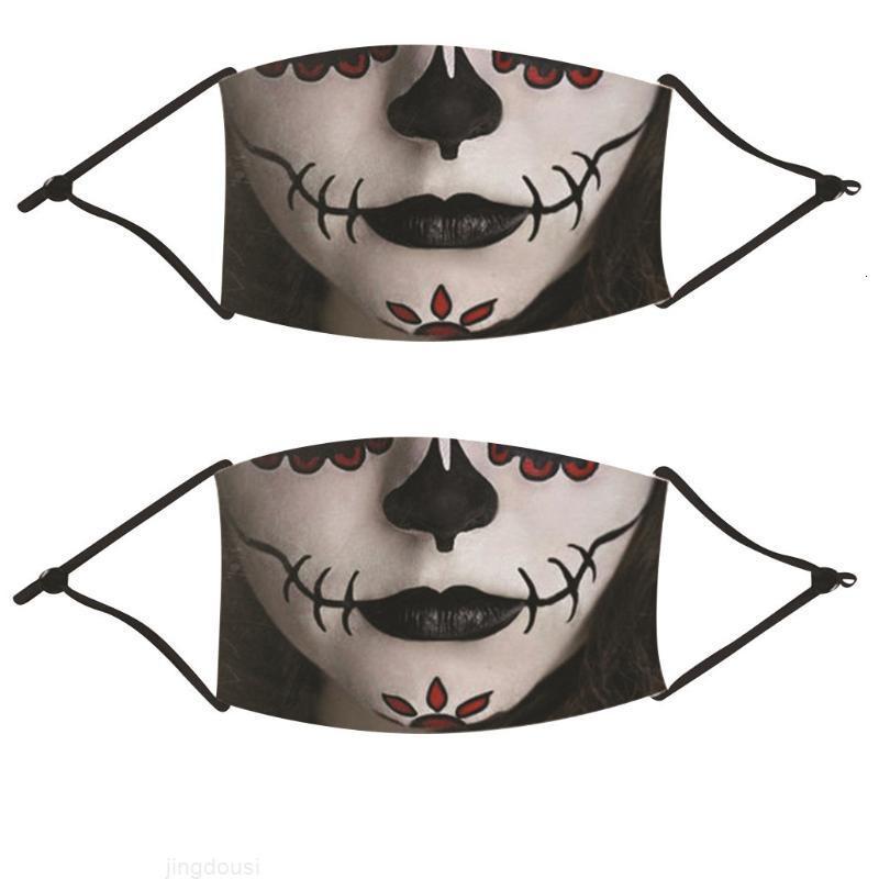 Cosplay 2pcs Maschera viso Fashion Halloween Bambini Bambini Mondmasker Outdoor Mouth Stampa Maschere Maschere Protezione Mascarillas Masque Mondkapjes W1