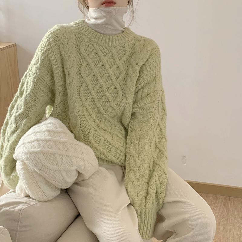 Retro Hilo grueso Twist Suéter de la chaqueta externa floja de las mujeres 2020 Nuevo otoño e invierno con suéter de respaldo