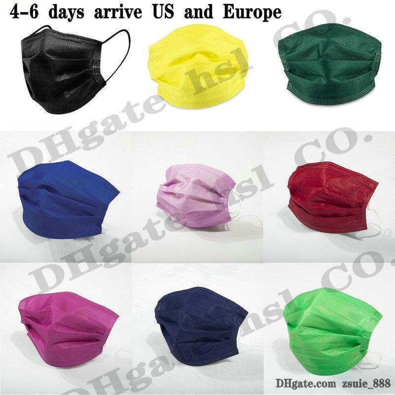 15 색 얼굴 마스크 50PCS 소매 패키지 블랙 3 레이어 부직포 일회용 마스크 보호 얼굴 방패 성인 어린이 도매 재고 있음