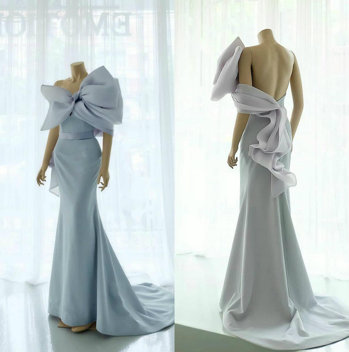 Açık Mavi Denizkızı 2020 Gelinlik Modelleri Pileleri Big Bow Boyun Backless Akşam Elbise Glitter Saten Arapça Örgün Parti Elbise
