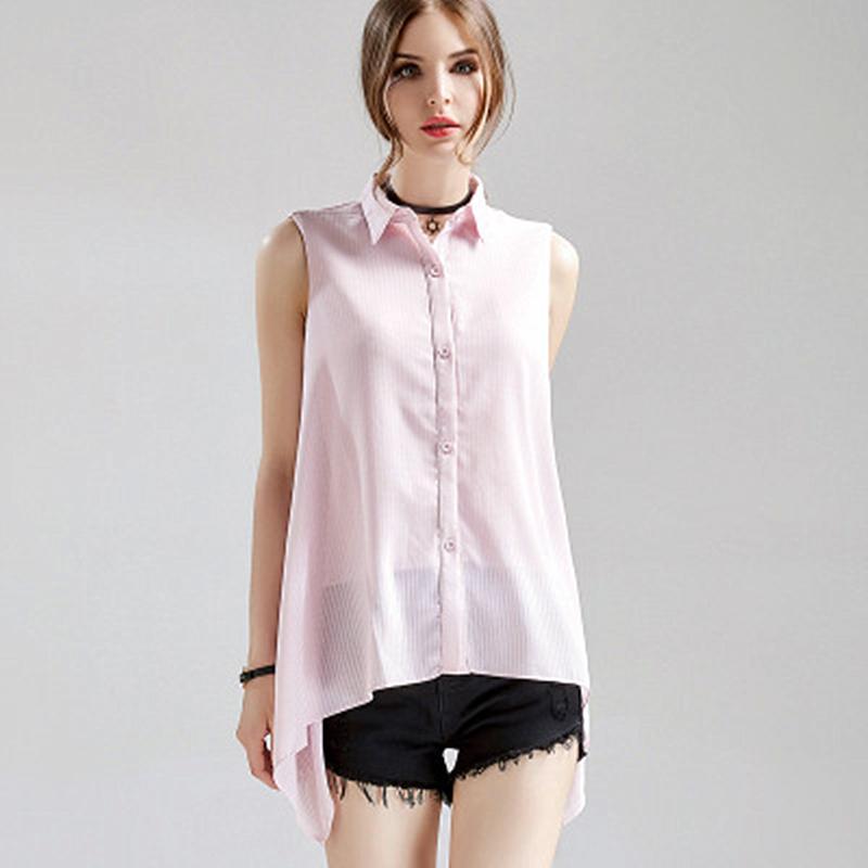 Большие женские размеры летом 2020 года корейская версия отворота без манго полосатые тонкие кожные рубашки нерегулярный шифон wqqu9