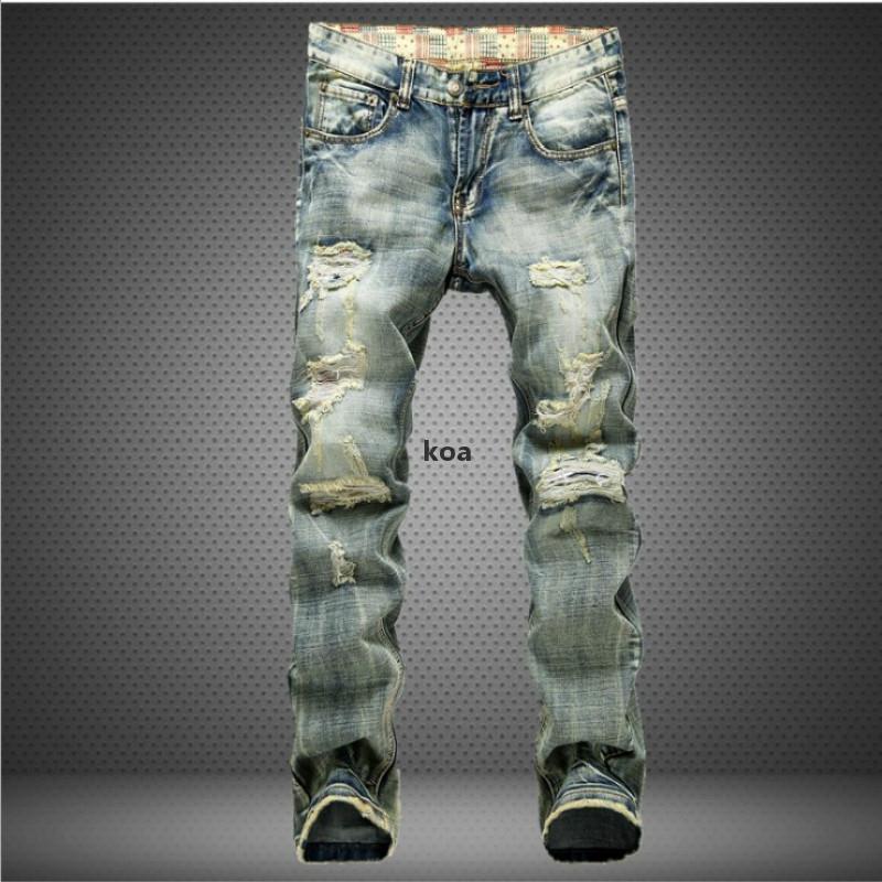 2020 European Style Men Jeans Holes Frazzled Jeans Mens Casual Leisure Denim Long Pants Light Blue p