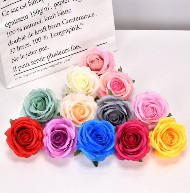 200 шт. 10см шелковый роза искусственный цветок головы DIY цветок для свадебной стены арка букет оформление цветов
