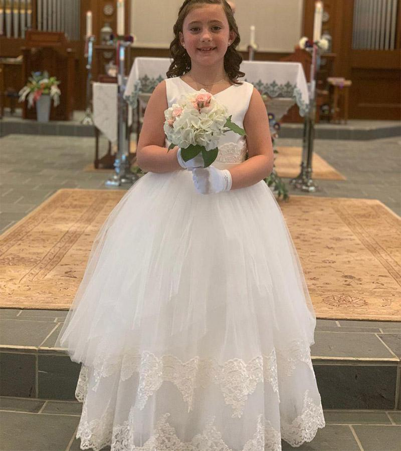 Con cuentas de encaje de flores niña vestidos V-cuello de la bola de la comunión del desfile de vestidos de los vestidos de los vestidos de tul vestido de boda de la vendimia de la niña