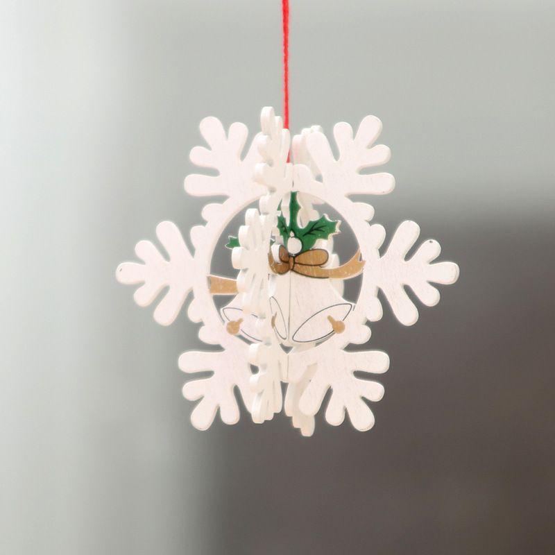 Fábrica de Navidad al por mayor decoraciones de madera láser de Navidad árbol de Navidad hueco pequeño colgante de madera campana de estrella de cinco puntas gif colgante