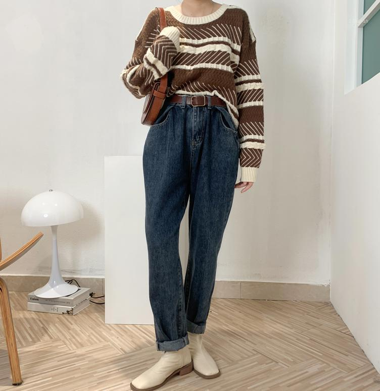 Jeans de femmes, jeans à la taille haute, de jambe à jambes, bleu de rue bleue, 2020 Qualité vintage, Harajuku hétéro, Pantalon Dad-Hip