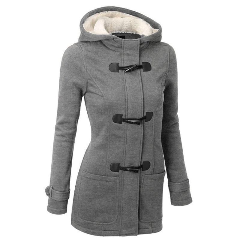 Nuevo otoño invierno mujer abrigo más tamaño casual delgado cuerno de buey para hebilla flocking grueso con capucha parkas de algodón para mujer ropa exterior 4xl