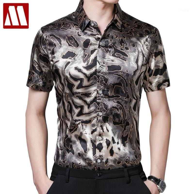 Vestido para hombre Camisas de leopardo Estampado de leopardo Satin Seda de manga corta de seda más tamaño Vestidos de verano 2021 con estilo Ropa de hombre Blusas Hawaiian SOC
