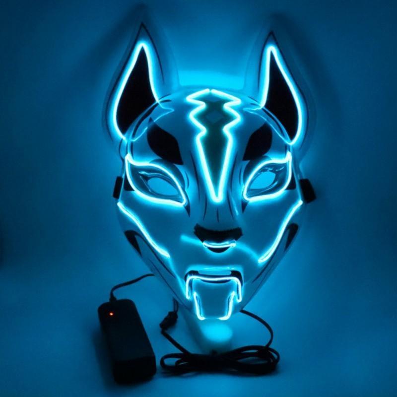 Костюм реквизит неоновый светодиодный светящийся джокер маска карнавал фестиваль света EL проволока маска японская лиса маска Хэллоуин рождественский декор Y201006