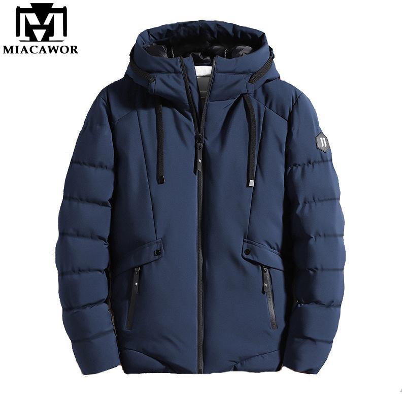 Miacawor Nuovo 2020 autunno inverno caldo giacche con cappuccio Parka Jacket Outwear Stile casual impermeabile Parka Men J669