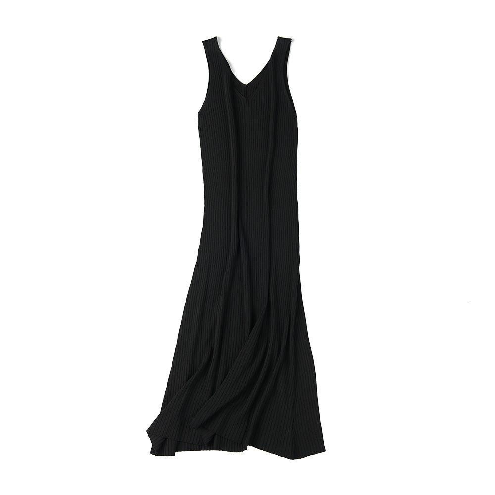 2021 New Spring Summer Knit Tank Long Korean Style Knitting v Neck Sleeveless Vest Thin Loose Women Casual Dress Vx7k