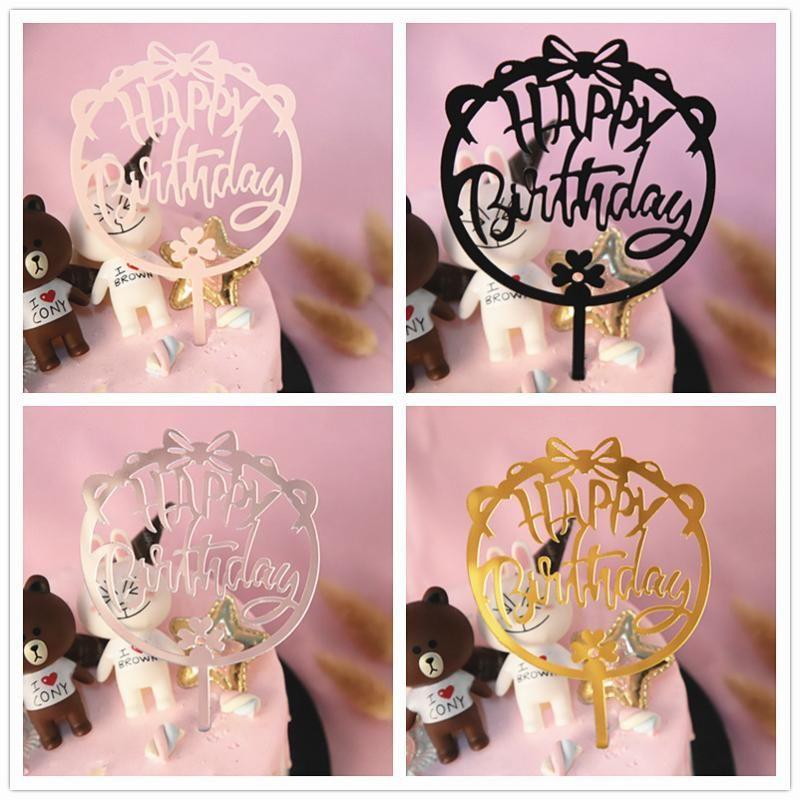 Новая красивая бабочка торт Топпер С Днем Рождения Акриловая кекс Топпер для девушки мальчика день рождения торт Декор для выпечки Поставки