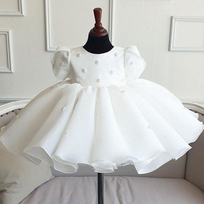 Abito appena nato in pizzo bianco per bambina da sposa manica corta perline in tulle infantile 1 ° compleanno abito da principessa battesimo vestiti 7NNC #
