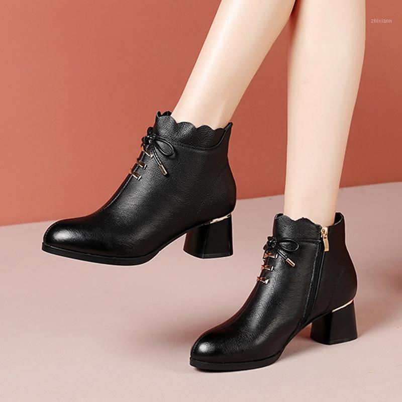 2020 inverno novas mulheres botas bowtie saltos altos vestido sapatos tornozelo bota quadrado salto alto botas com zíper senhoras sapatos 8537N1