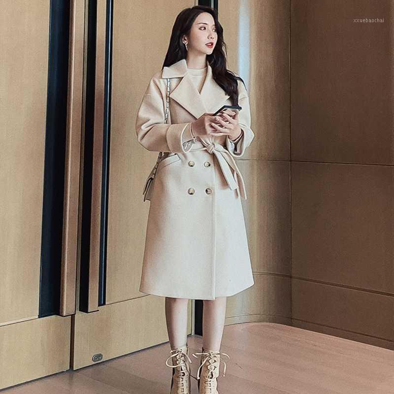 Cappotto lungo in lana casual da donna in inverno autunno inverno Cappotto lungo Bresed Cappotto lungo con cintura1