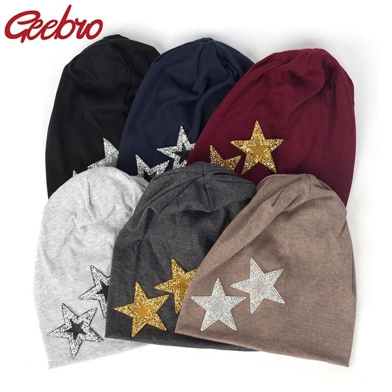 Geebro Neue Frauen Rhinestones Sterne Lässige Mützen Hüte Weiche dünne Baumwolle Baggy Skullies Hüte Mütze Für Damen Mädchen Y201024