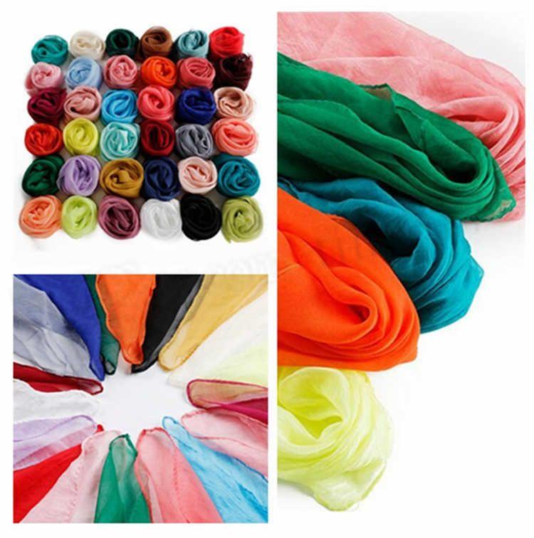 Мода чистого цвета шифоновые дамы квадратные шарфы марля с декоративным тонким маленьким шарфом T10C009