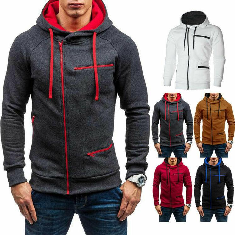 Herren Hoodie Warm Hooded Sweatshirt Mantel Tops Jacke Outwear Reißverschluss Jumper Pullover KG-186