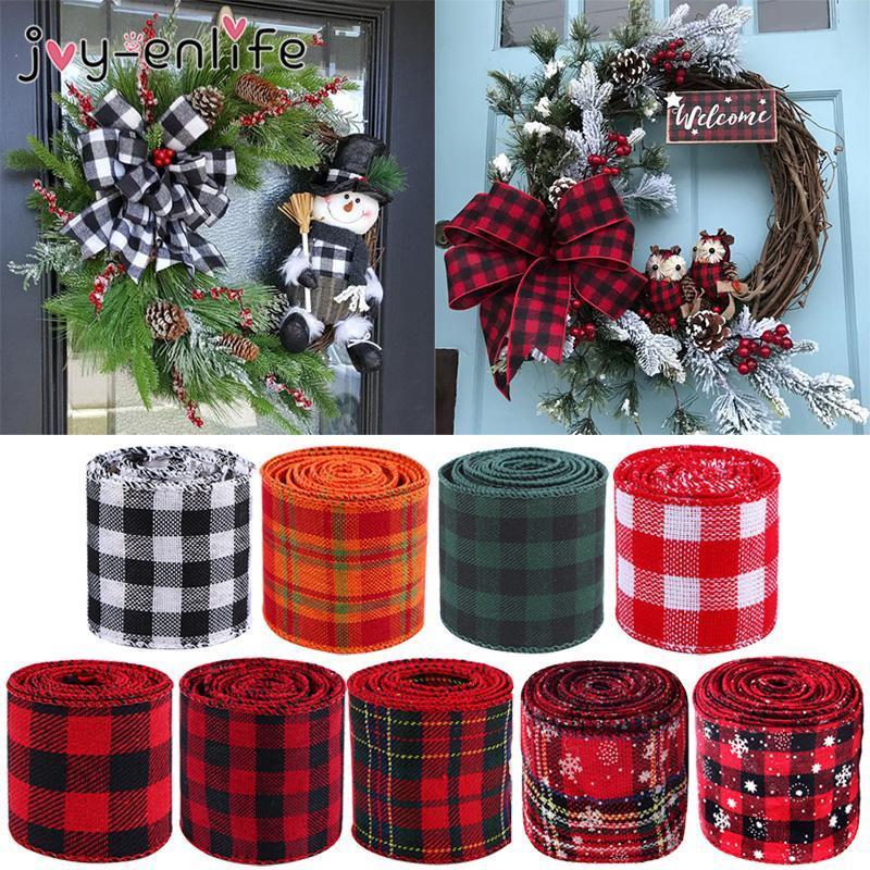 6m / roll di Natale in lino Tartan Nastri tessuto a mano regalo Crafts imballaggio decorazione di Natale Per la casa natale di Noel Natal 2020