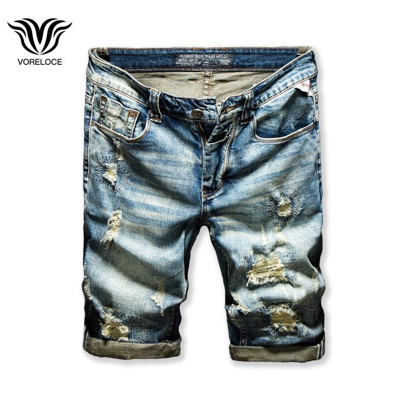 Voreloce Classic Pocket Stickerei gerissene Loch Sommer Trend Mode Männer Denim Shorts Luxus hochwertige Baumwolljeans B825