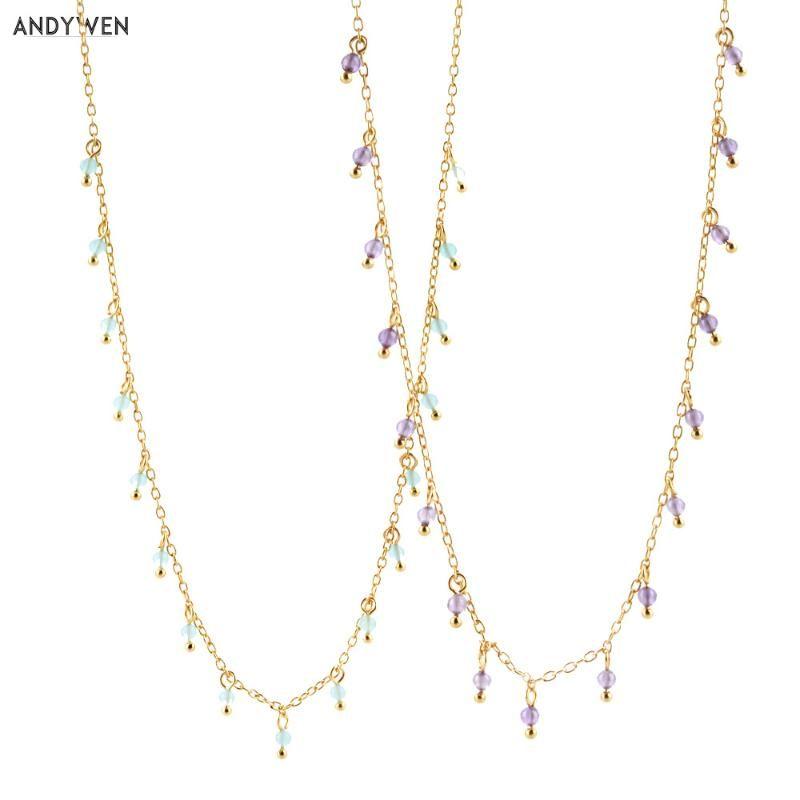 Chaînes Andywen 925 Sterling Argent Sterling Gold Turquoise Charms Purple Zircon Collier 2021 Rock Punk Bijoux Mode CZ