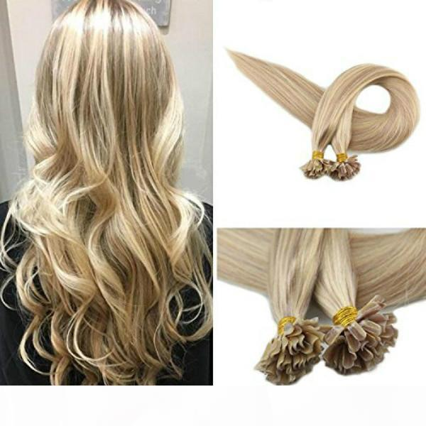 moda tasarım Evermagic Yüksek kaliteli Remy saç uzantıları İnsan Saç U İpucu Keratin 18 613 # Renk Tırnak İpucu Uzantıları