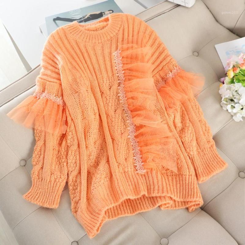 Осенняя свободная сумасшедшая пуловер повседневная женщин свитер лоскутное кружево o шеи с длинным рукавом зимний sueter mujer1