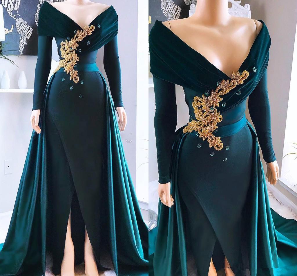 Hunter Green Satin Mangas largas Sirena Vestidos de fiesta 2021 Apliques con cuentas con cuello Vestido Formal Fiesta Frente Divertido Vestido de noche Celebridad