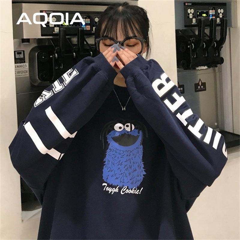 Aqoia Herbst faule Stil Cartoon drucklosen Frauen Sweatshirt Harajuku Übergröße Frauen Sweatshirt Ins Mode Hoodies 201217