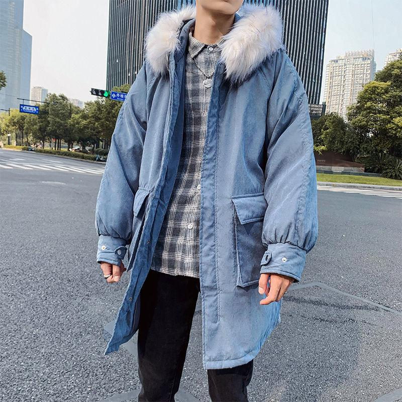Long Coat Men's Parka Warm Fashion Casual Fur Collar Hooded Coat Menwear Streetwear Loose Cotton Thick Winter Jacket Men Clothes