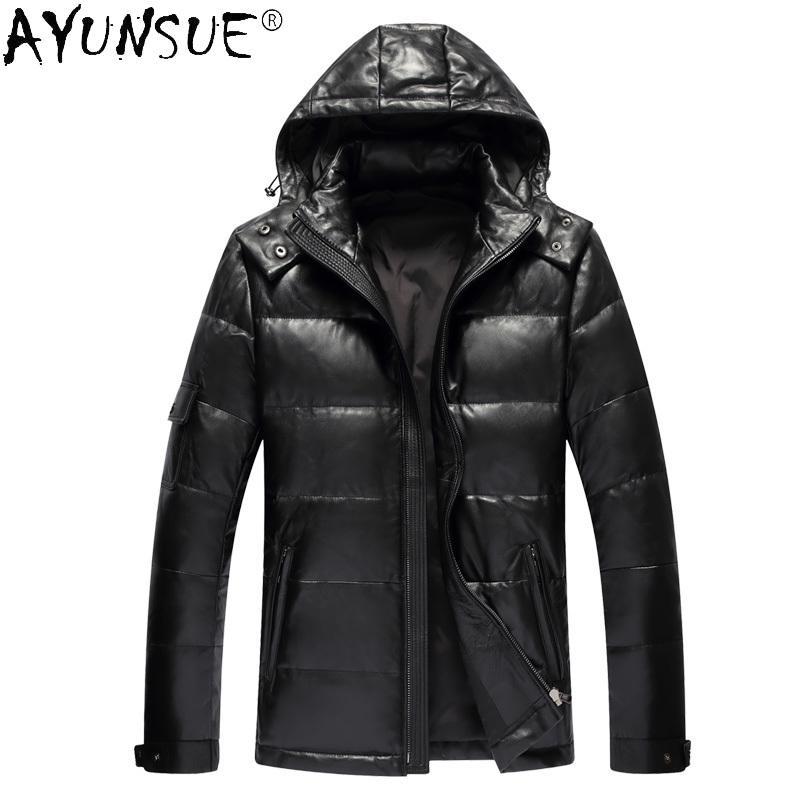 Abiti da uomo Ayunsue Abbigliamento Uomo Inverno Piumino Giacche in pelle di pecora reale Giacche in pelle con cappuccio Cappotto spessore 2020 Abbigliamento da uomo Jaqueta LXR376 x1025