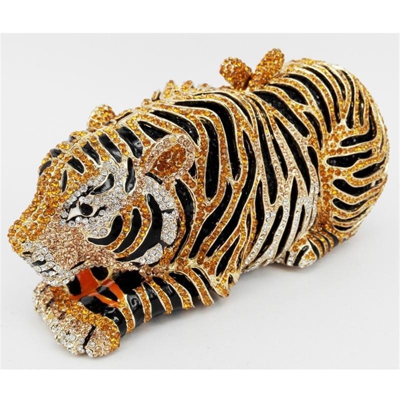 Sac de soirée de diamant de tigre élégant Gold de luxe diamante cristal embrayage mariage élégant mariée fête de la mariée de la fourgonnette 88166 y201224