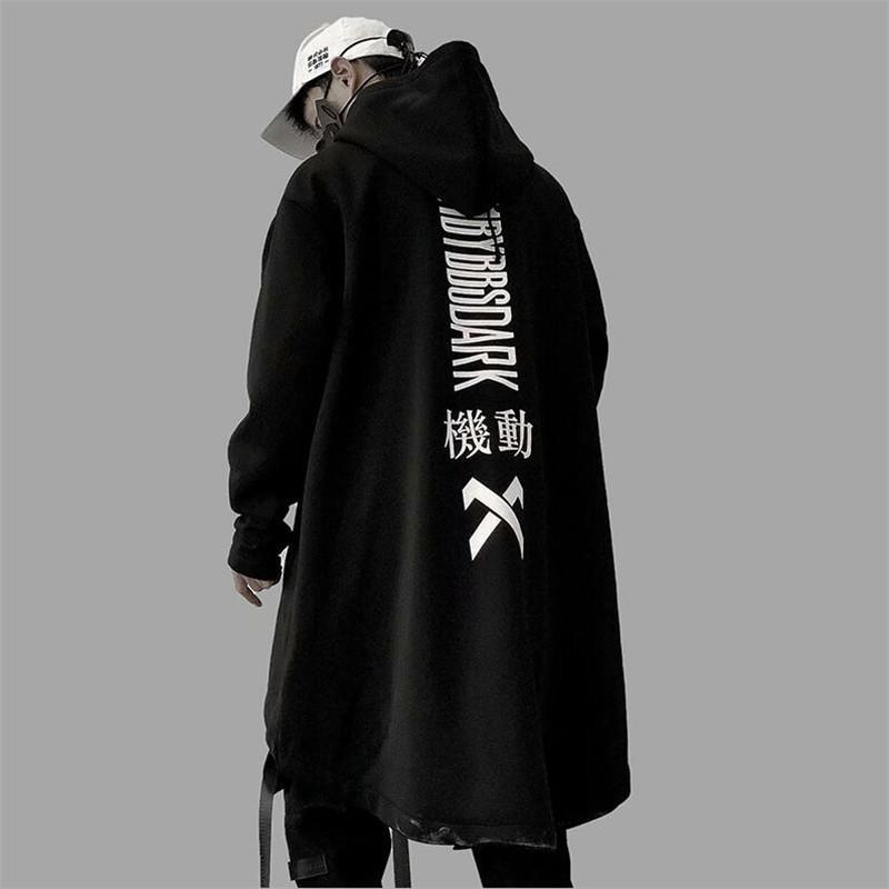Мужские толстовки для толстовки награвшие осень 2021 мужчин Harajuku хип-хоп Пальто мужской куртка негабаритные длинные капюшоны хлопчатобумажного мода слава пальто и m l x