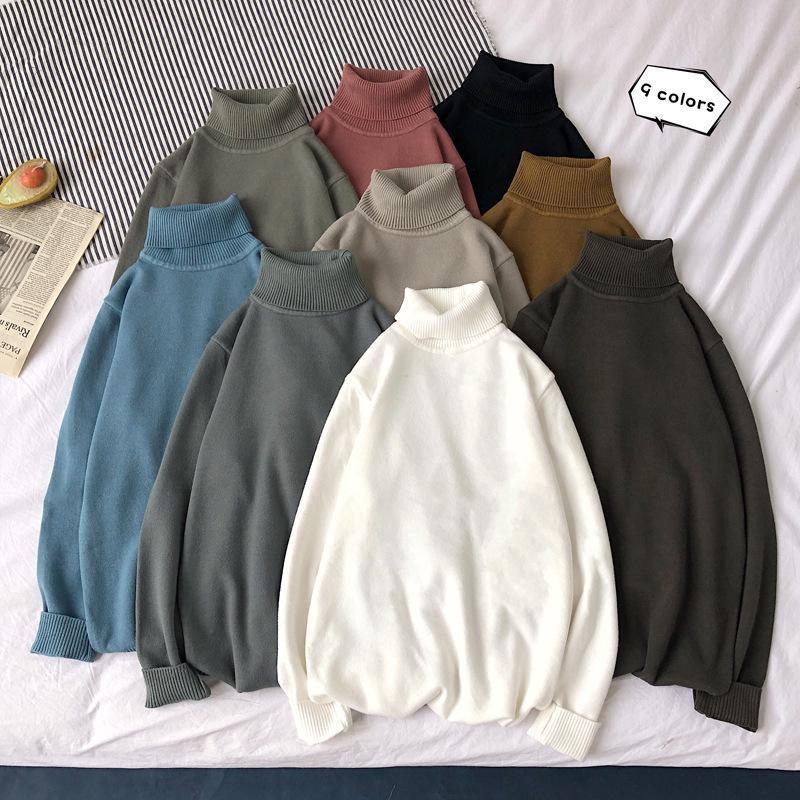 Otoño invierno para hombre tortuga de tortuga suéter caliente vintage alto collar de punto suéter masculino casual ropa de punto xxl manga larga jersey hombres