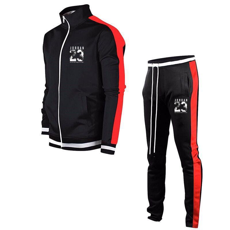 20212020 Herbst / Winter Neue Trainingsanzug Männer Sets Polyester Spleißen Jogging Trainingsanzug Männer Sweatshirt + Jogginghosen Sport Männer Kleidung