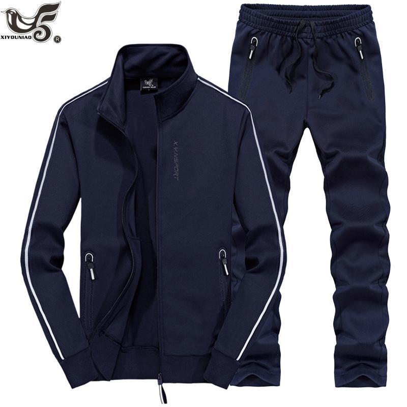 XIYOUNIAO plus size L ~ 7XL8XL Sportswear Homens Outono Inverno Set Mens Treino camisola Hoodies + calças Homem ternos esportivos Casual