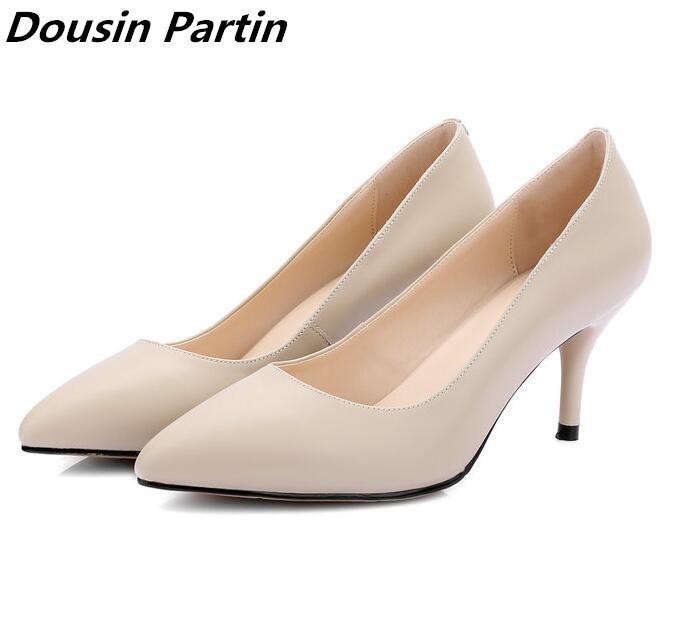 Dousin Partin Art und Weise 3 Farben smiple Fersen spitze Zehe Damen pumpt Schuhe Frau glaidtor Stil hohe Absätze für Schuhe Frauen LJ200928
