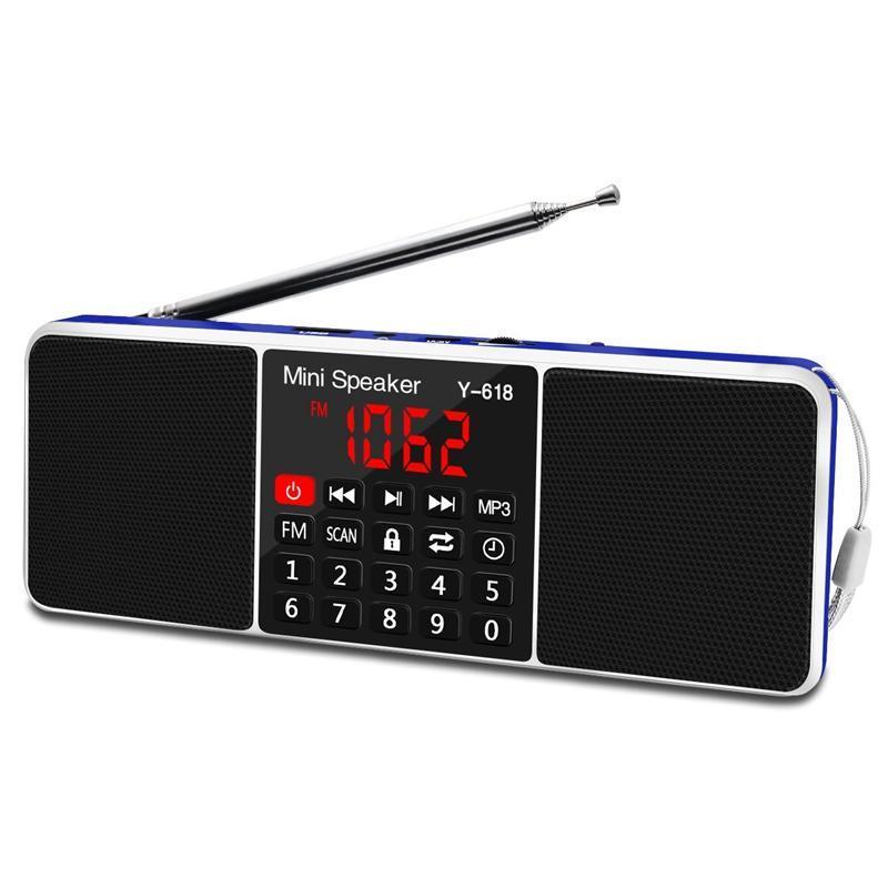 Multifuncional Digital Fm Rádio dupla Speaker Mp3 Music Player Suporte Fone de ouvido 3.5mm com Led Display Screen / Função Timer (Bla