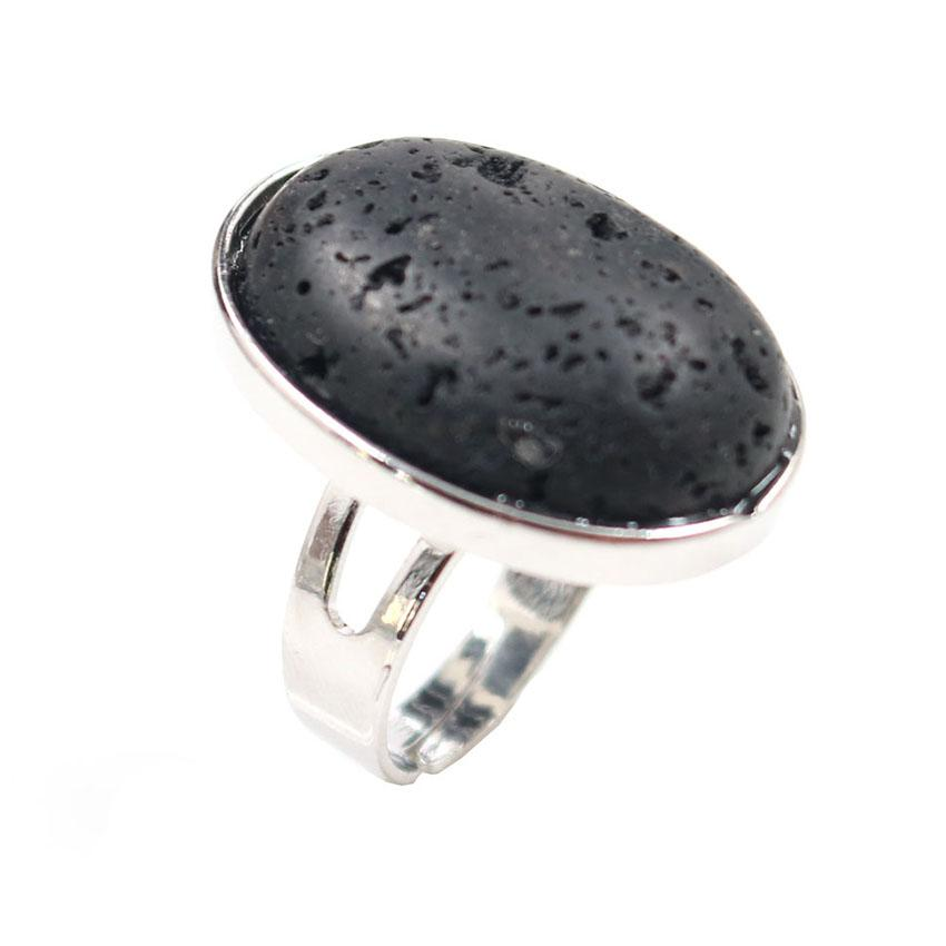 Wholesale 10 Pcs Silver Plated Oval Shape Black Lava Stone Resizable Finger Ring White Howlite Jewelry
