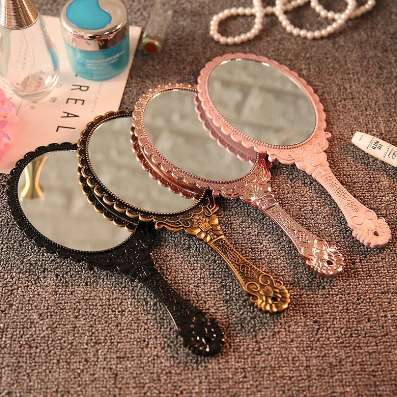 Mão de maquiagem de mão espelho romântico vintage laço mão hold espelho oval redondo espelhos cosméticos cosméticos ferramenta vestido presente gwc5197