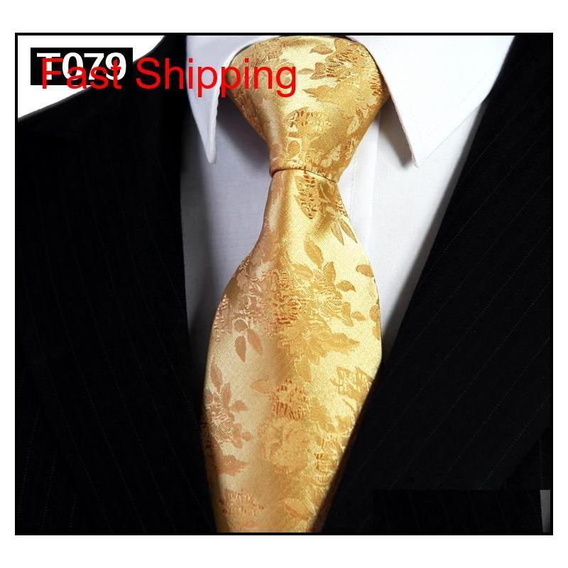 Toptan Altın Sarı Turuncu Erkek Bağları Kravatlar Paisley Çiçek Katı Çizgili 100% Ipek Jakarlı Dokuma Kravat Setleri Qylhzz Homes2007